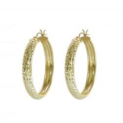 Diamond Cut Design Hoop Earrings 14K Yellow Gold