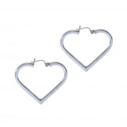 Heart Shape Hoop Earrings 14K White Gold