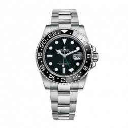 Rolex GMT-Master II Stainless Steel Watch Black Dial Ceramic Bezel 116710LN