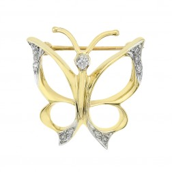 0.10 Carat Diamond Vintage Butterfly Pendant Brooch 14K Yellow Gold