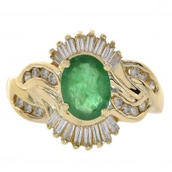 1.45 Carat Emerald & 0.75 Carat Diamond Gemstone Ring 14K Yellow Gold