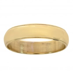 5.6mm 14K Yellow Gold Comfort Fit Mens Wedding Band Ring