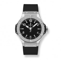 Hublot Big Bang 38mm Stainless Steel Black Watch Diamond Bezel 361.SX.1270.RX.1104