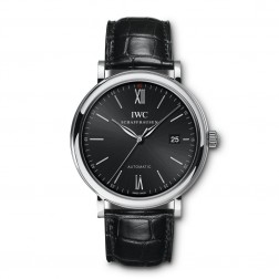 IWC Portofino Stainless Steel Watch Black Dial on Leather Strap IW356502