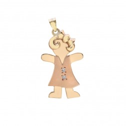 0.02 Carat Diamond 14K Two Tone Gold Girl Charm