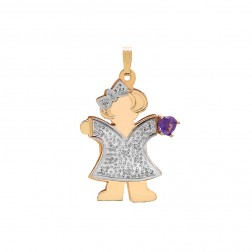 0.55 Carat Heart Shape Amethyst & 0.08 Carat Diamond 14K Two Tone Gold Girl Pendant