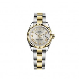 Rolex Lady Datejust 28 Steel & 18K Yellow Gold Watch Silver Roman Dial 279173