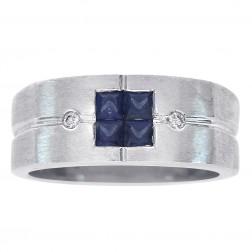 0.50 Carat Princess Cut Sapphire & 0.03 Carat Diamond Men's Ring 14K White Gold