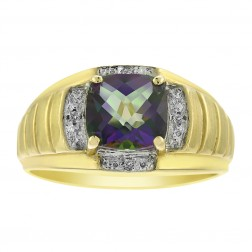 1.20 Carat Rainbow Topaz and 0.04 Carat Diamond Gemstone Ring 10K Yellow Gold