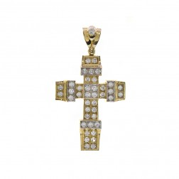 15.00 Carat Round Cut Cubic Zirconia Cross Pendant 10K Yellow Gold