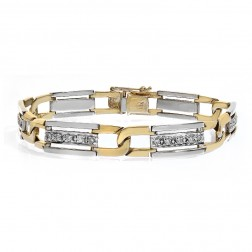 1.00 Carat Mens Round Cut Diamond Bracelet 14K Two Tone Gold