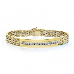 1.50 Carat Mens Channel Set Round Diamond Bracelet 14K Yellow Gold