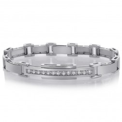 1.10 Carat Mens Channel Set Round Diamond Bracelet in 14K White Gold