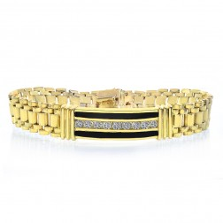 1.50 Carat Mens Round Diamond & Onyx Bracelet 14K Yellow Gold