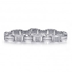 3.50 Carat Mens Princess & Round Cut Diamond Bracelet 14K White Gold