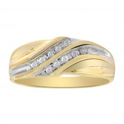0.12 Carat Diamond Round Cut Mens Wedding Band 10K Two Tone Gold