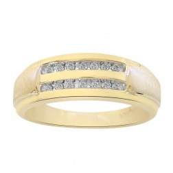 0.20 Carat Diamond Round Cut Channel Set Mens Wedding Band 10K Yellow Gold