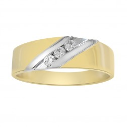0.15 Carat Diamond Mans Wedding Band 6.75mm 14K Two Tone Gold Size 11
