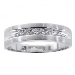 0.25 Carat Round Cut Five Stone Diamond Men's Wedding Band 14K White Gold
