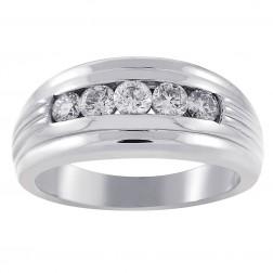 0.85 Carat Mens Round Cut Diamond Wedding Band 14K White Gold