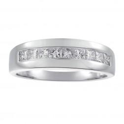 1.25 Carat Princess Cut Diamond Mens Wedding Band 14K White Gold