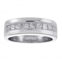 1.50 Carat Princess Cut Diamond Men's Wedding Band 14K White Gold