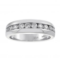 1.15 Carat Mens Round Cut Diamond Wedding Band 14K White Gold