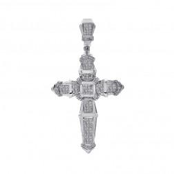 3.50 Carat Round/Princess/Baguette Diamond Cross 14K White Gold