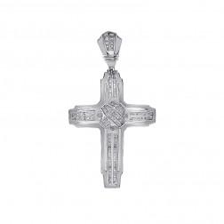 1.50 Carat Round Cut Diamond Cross Pendant 14K White Gold