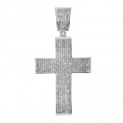 7.15 Carat Princess Cut Diamond Certified Cross Pendant 14K White Gold
