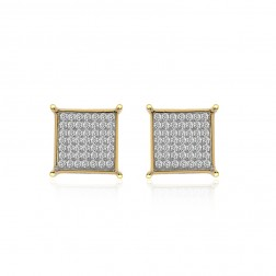 0.55 Carat Micro Pavé Round Diamond Square Stud Earrings 14K Yellow Gold