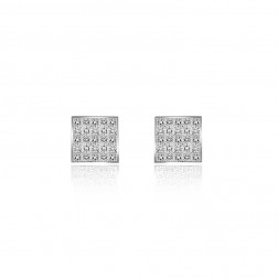 1.00 Carat Invisible Set Princess Cut Diamond Stud Earrings 14K White Gold