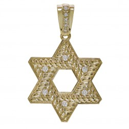 0.50 Carat Round Cut Diamond Star of David Pendant 14K Yellow Gold