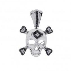 0.75 Carat Black & White Diamond Skull and Crossbones Pendant 14K White Gold