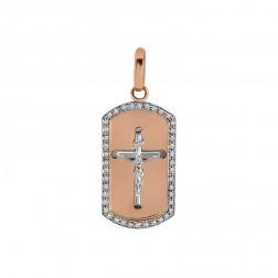 0.83 Carat Round Diamond Frame Crucifix Dog Tag Pendant 14K Rose Gold