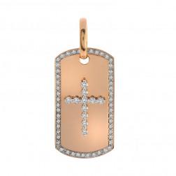 1.25 Carat Round Diamond Cross Dog Tag Pendant 14K Rose Gold