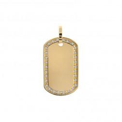 1.25 Carat Pavé Round Diamond Frame Dog Tag Pendant 14K Yellow Gold