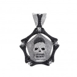 4.00 Carat Black & White Round Diamond Skull Pendant 14K White Gold