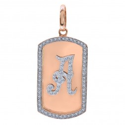 "2.75 Carat Round Diamond ""A"" Initial Dog Tag Pendant 14K Rose Gold"