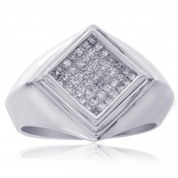 0.85 Carat Princess Cut Mens Diamond Ring 14K White Gold