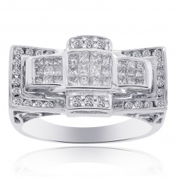 1.45 Carat Round Cut and Princess Cut Diamonds Mens Ring 14K White Gold