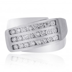 1.00 Carat Channel Setting Mens Round Cut Diamond Ring 14K White Gold