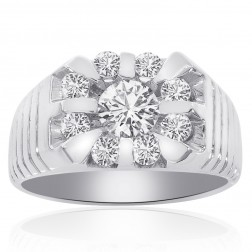 1.64 Carat Round Cut Channel Setting Diamonds Mens Ring 14K White Gold