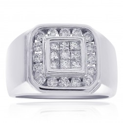 1.00 Carat Round Cut and Princess Cut Diamonds Mens Ring 14K White Gold