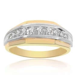 1.00 Carat Round Cut Channel Setting Mens Diamond Ring 14K Two Tone Gold
