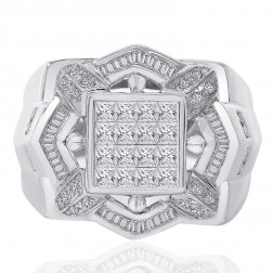 2.00 Carat Baguette, Princess, Pave Round Cut Diamonds Mens Ring 14K White Gold