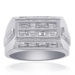 1.50 Carat Baguette Mens Diaomnd Ring With Brilliant Side Stones 14K White Gold