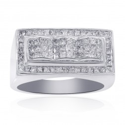 1.50 Carat Invisibile Setting Mens Princess Cut Diamond Ring 14K White Gold