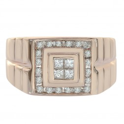 0.50 Carat Round Princess Cut Channel Setting Diamonds Mens Ring 14K Rose Gold