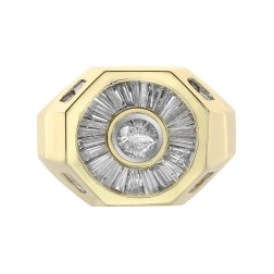2.00 Carat Round And Baguette Cut Diamonds Men's Ring 14K Yellow Gold